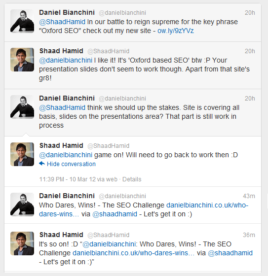 Oxford SEO Consultant - Twitter Conversation