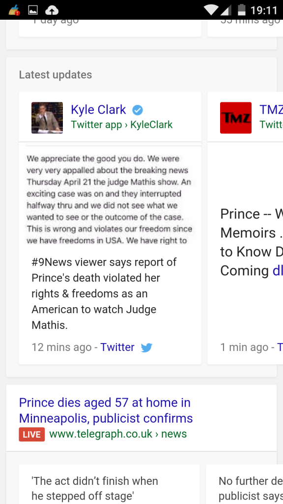 Prince with Live Label in Google Mobile Search