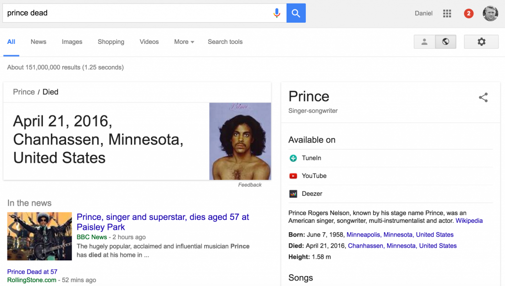 Prince dead desktop google search