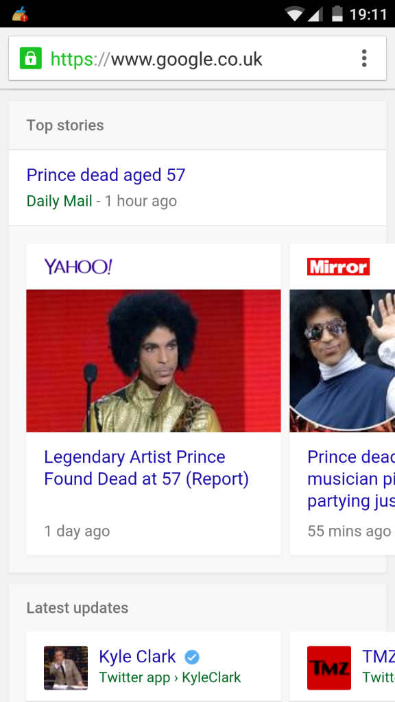 Prince with Brand Logos in Top Stories